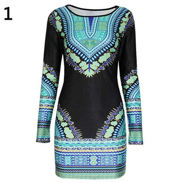 Women Fashion Bodycon Lace Printing Dress