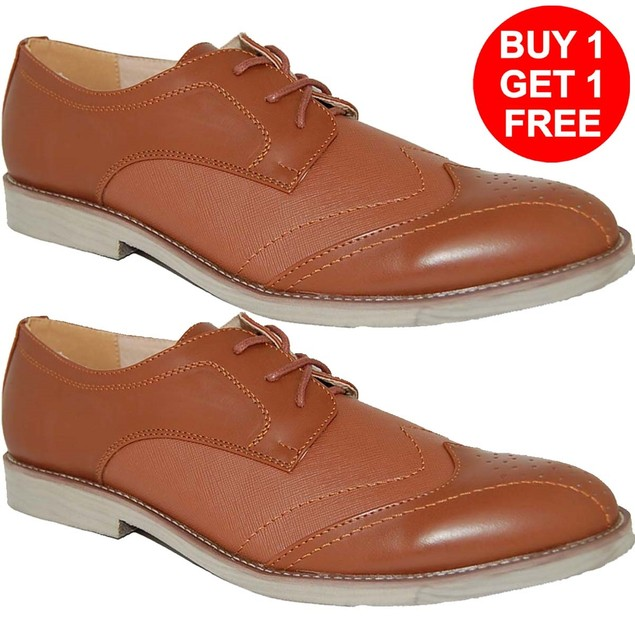 KRAZY SHOES BOGO 1 FREE Shoes | LEATHER LINED Brown Mens Oxfords