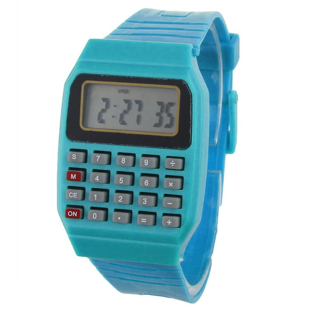 Unsex Silicone Date Time Electronic Wrist Calculator Watch