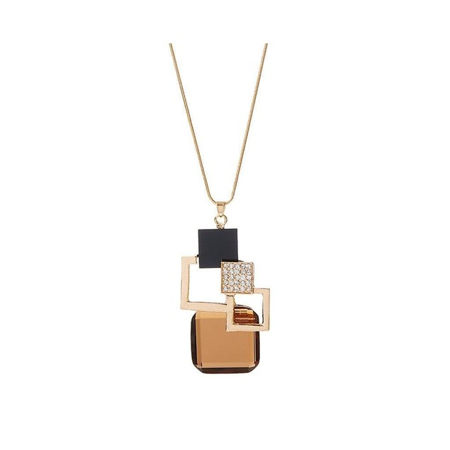 Novadab Brown Crystal & Goldtone Geometric Pendant Necklace