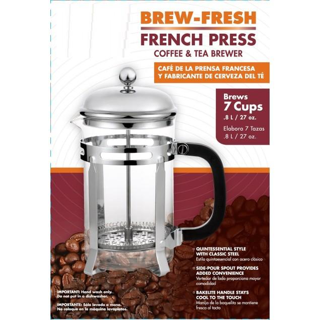 Brew-Fresh French Press Glass Coffee/Tea Maker, Clear/Glass