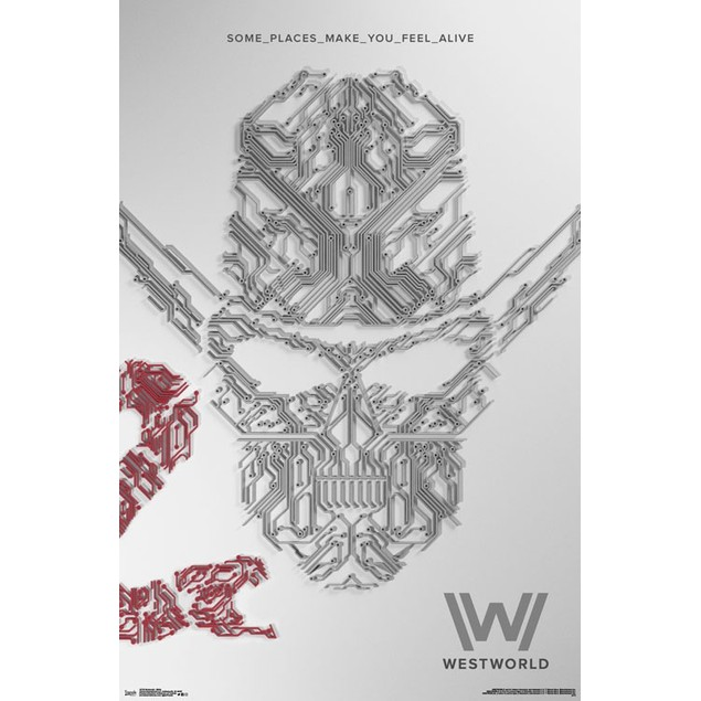 """Westworld Some Places Make You Feel Alive Wall Poster 22.375"""" x 34"""" White"""
