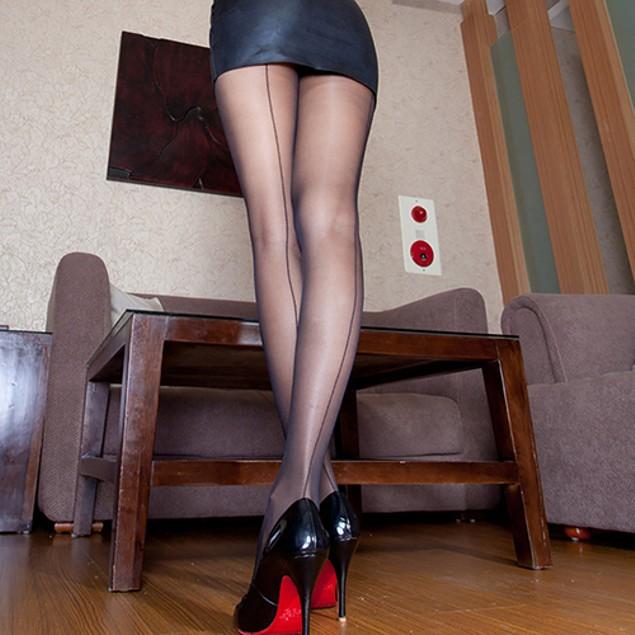 Women's Ultra Sheer Transparent Line Back Seam Tights Stockings Pantyhose