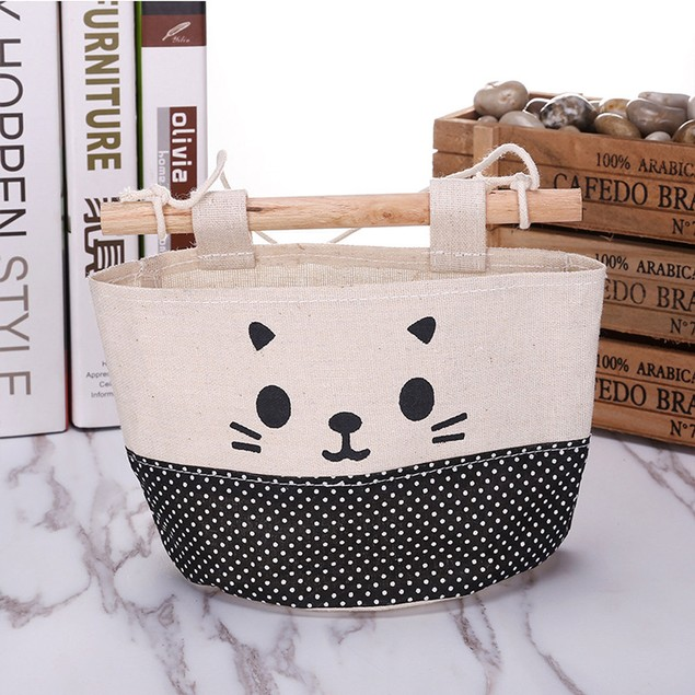 Cotton Cartoon Cat Hanging Storage Bag Debris Pouch Wall  Combination