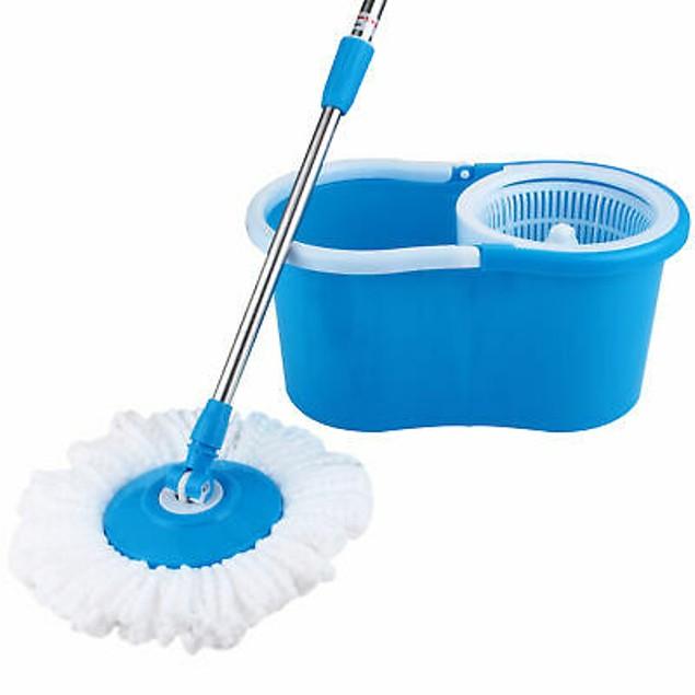 Rotating Head Easy Magic Floor Mop Bucket 2x Head Microfiber