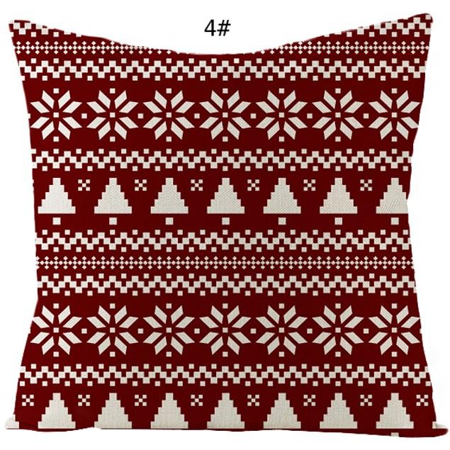 18 x 18 inches Christmas Soft Linen Square Sofa Waist Cushion Pillow Cases