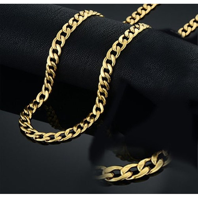 14K Cuban Gold Plated Layer Chain
