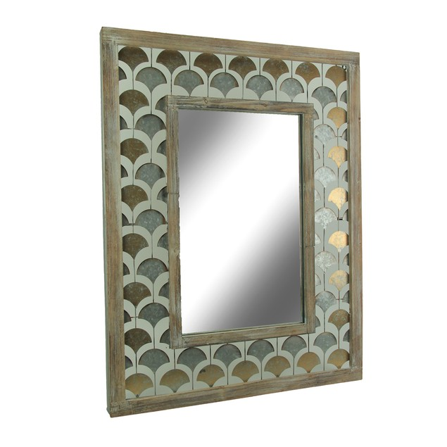 Rustic Wood And Metal Ginkgo Leaf Design Wall Wall Mounted Mirrors