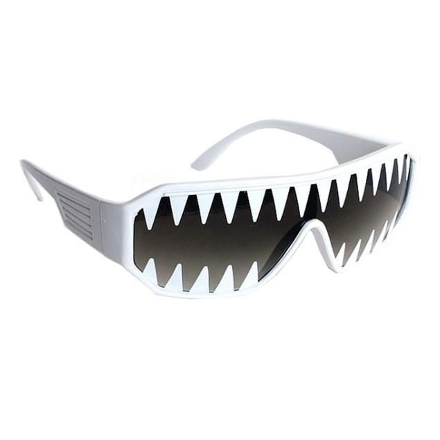 Macho Wrestler Sunglasses Mini Shark Teeth on Black Lens with White Frame