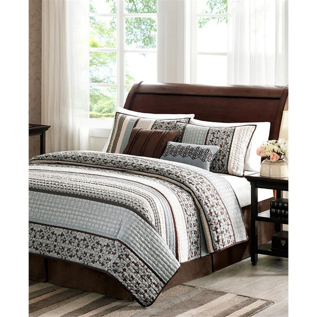 Madison Park Princeton 5 Pc Coverlet Set, Brown/Red/Gold and Ivory, King,