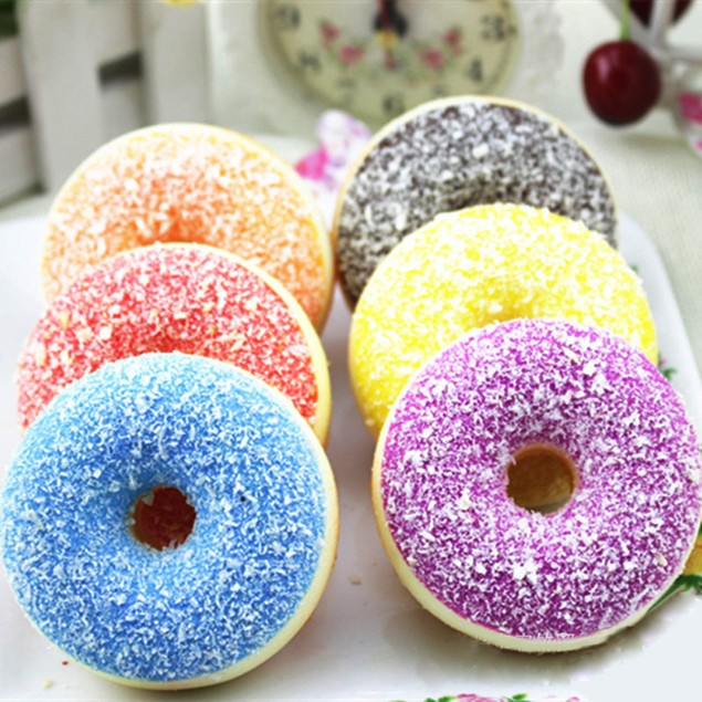 Squeeze Stress Reliever Soft Colourful Doughnut Scented Slow Rising Toys