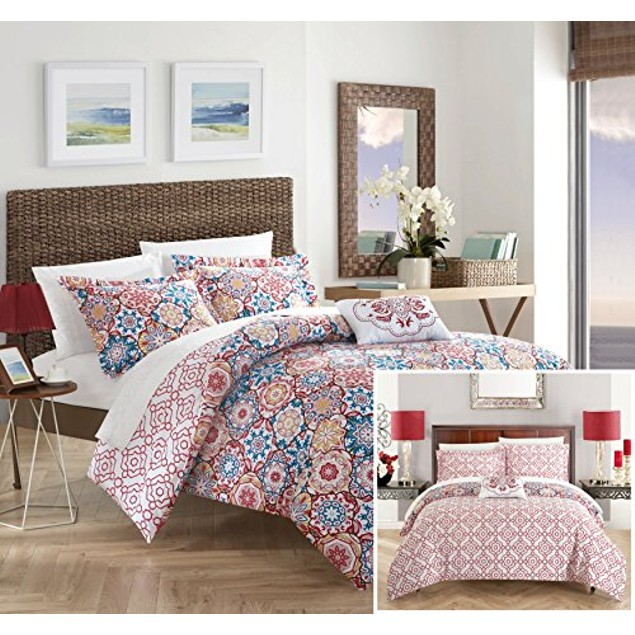 Chic Home 3/4 Piece Loire 100%Cotton Bohemian Inspired REVERSIBLE Quilt Set