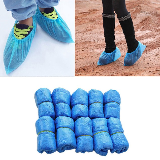 100Pcs Disposable Plastic Boot Shoes Cover Lab Cleaning Overshoes