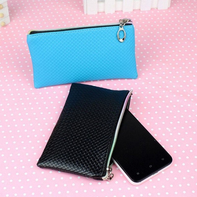 Women Faux Leather Clutch Zip Handbag Purse Phone Holder Pouch Coin Wallet