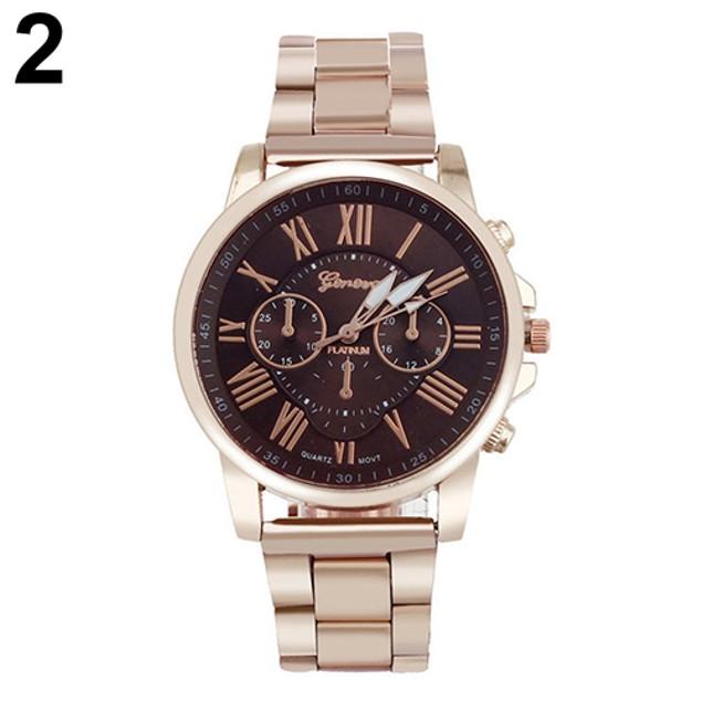 Women Men Roman Number Stainless Steel Analog Quartz Wrist Watch