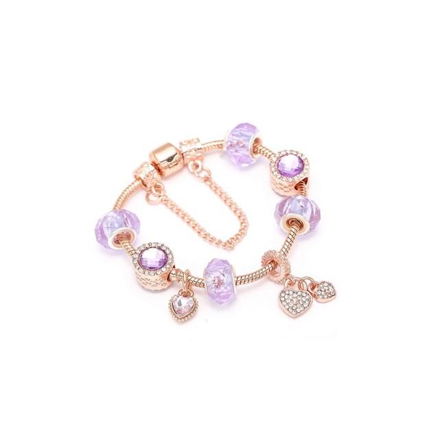 Rose Gold Austrian Crystal Heart Charm Bracelet