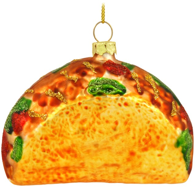 Taco Christmas Tree Ornament Xmas Funny Mexican Food Holiday Glass Bell