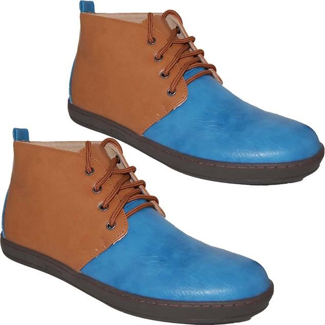 KRAZY SHOES Men's Navy Tan 2 For 1  Hi Top Shoes