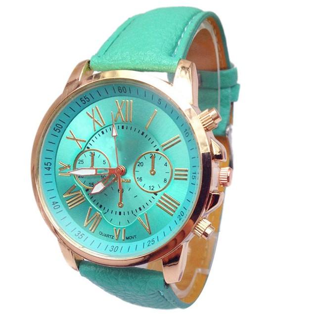 Women Stylish Numerals Faux Leather Analog Quartz Wrist Watch