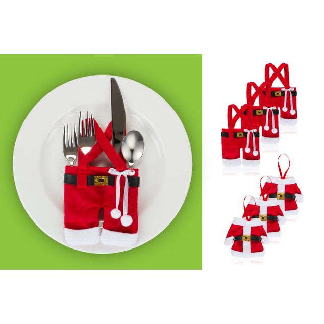 Santa Silverware Holders-6 Pc Set