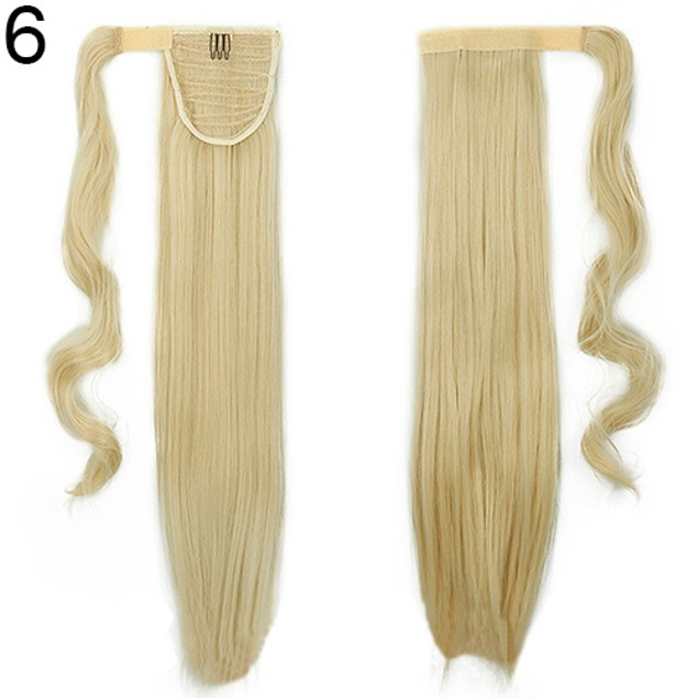 Women's Girl's Long Straight Wavy Ponytail Wigs