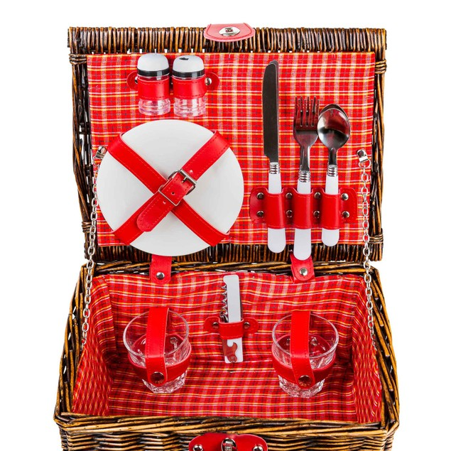 Heavy-Duty, Stylish Willow Picnic Basket (2-person Red and White Plaid)