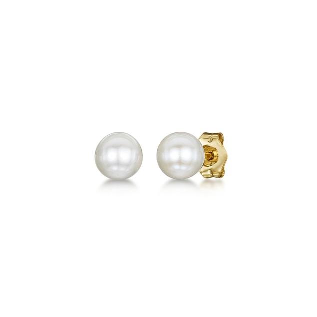 Freshwater Cultured Pearl Children Earrings in 14k Yellow Gold