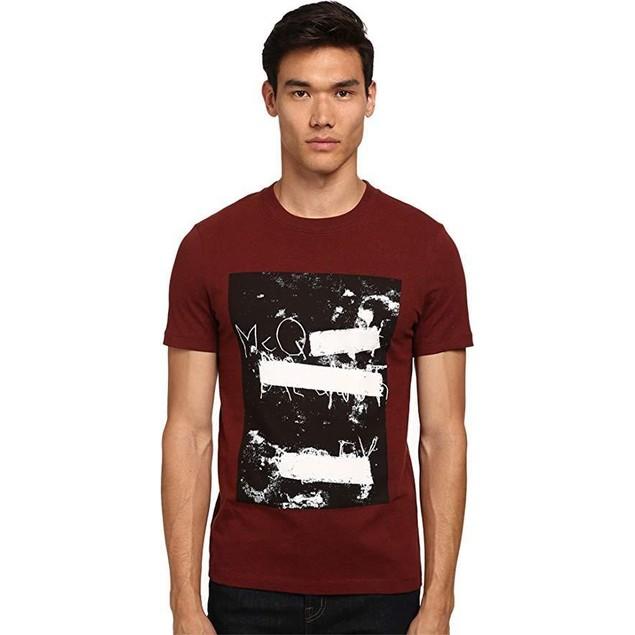 McQ Men's Short Sleeve Logo Print Crew Neck T-Shirt Grey Melange/Blood