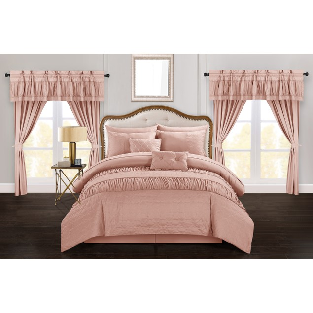 Chic Home 20-Piece Jinkie Striped Ruched Ruffled Embossed Comforter Set