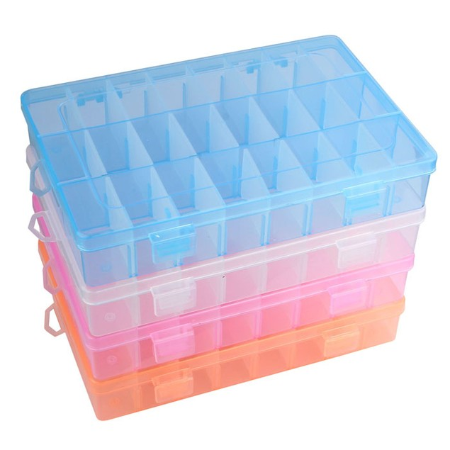 24-Compartment Craft/Part Storage Box - 4 Colors