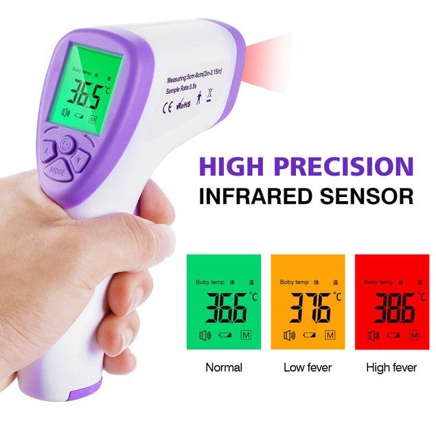 Non-Contact Infrared Forehead LCD Thermometer + 5-Pack of KN95 Masks
