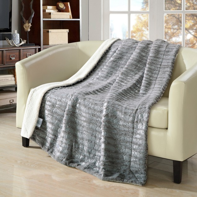 Chic Home Panama Ultra Plush Micro Mink Silver Stamping Sherpa Blanket