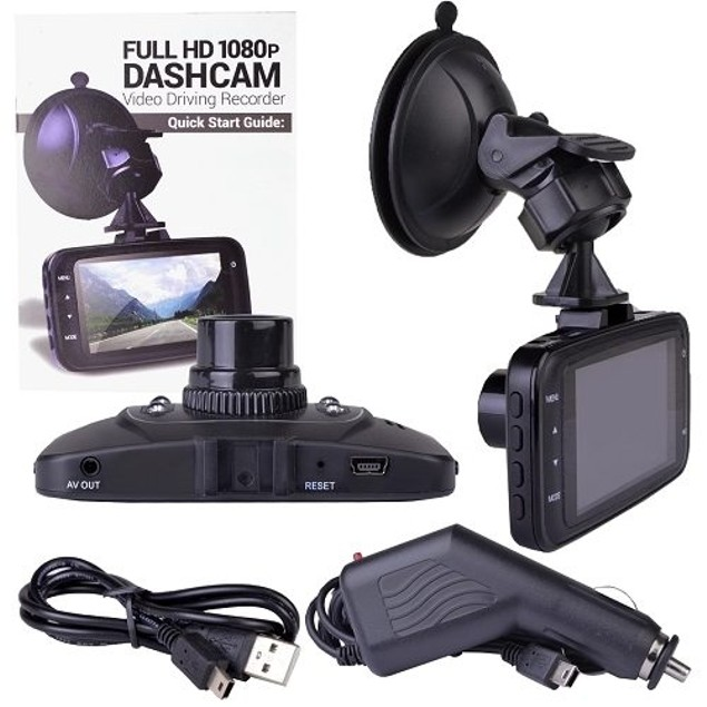 "Automotive 1080p HD Dash Cam with Night Vision, 2.7"" LCD Screen"
