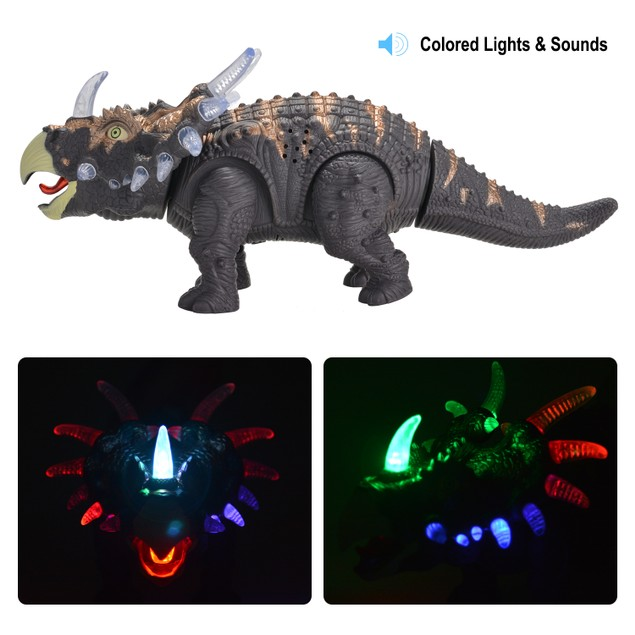 Battery Powered Walking Dinosaur Toy Figure- Lights & Sounds, Real Movement