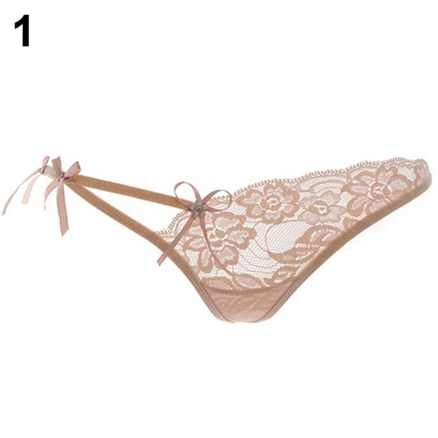Sexy Women Lace Flower V-string T-back