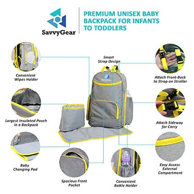 Large Diaper Baby Bag w/ Shoulder Straps, Insulated Pouch, & Changing Pad