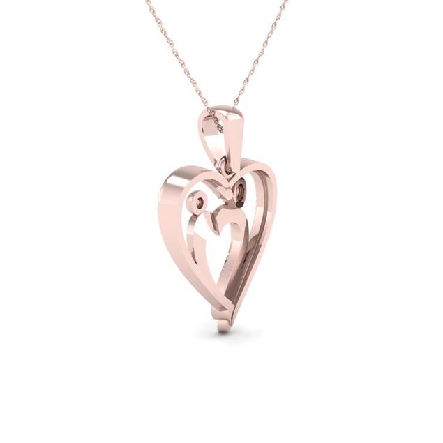 De Couer 10K 1/10ct TDW Diamond Heart Necklace (I-J, I2)