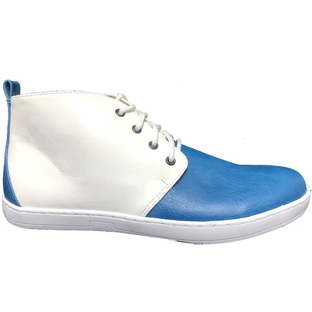 KRAZY SHOES Men's Blue White 2 For 1  Hi Top Shoes