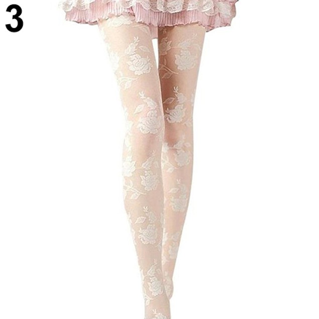 Women Rose Pattern Tight Pantyhose See-through Stockings