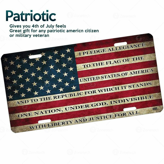 Zone Tech USA Flag License Plate Patriotic Pledge of Allegiance Steel