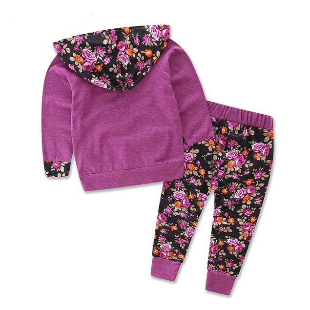 Girls Long Sleeve Floral Print Track Suit Outfit