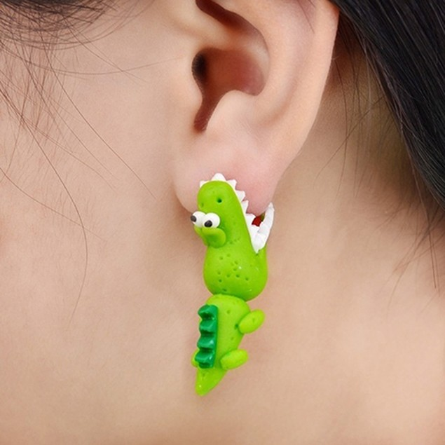 Women Cute Cartoon Polymer Crocodile Handmade Earrings
