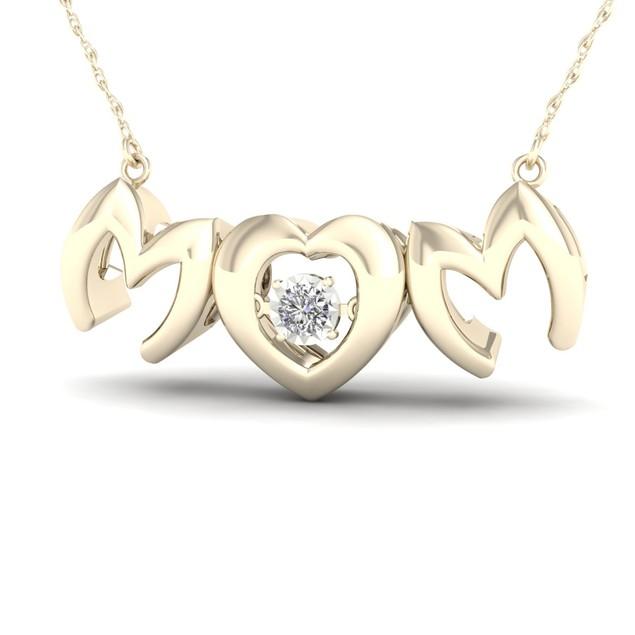 De Couer 10K 1/20ct TDW Diamond Mom Heart Necklace (I-J, I2)
