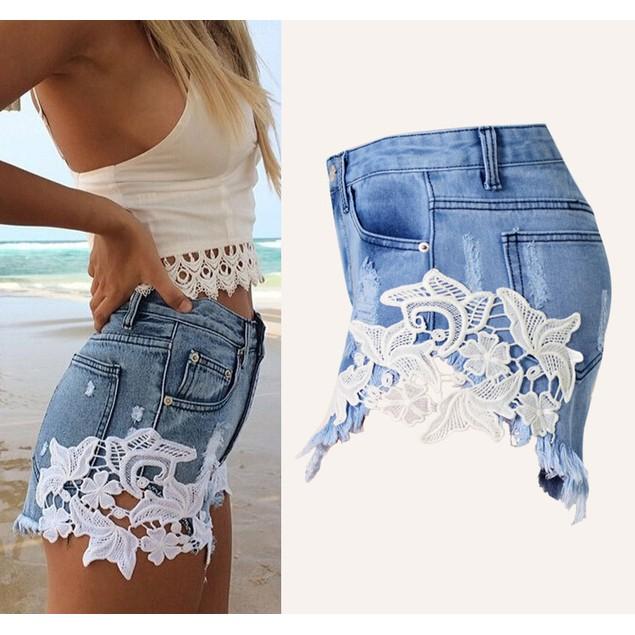 High Waist Lace Hot Shorts 2017 Summer Women's Beach Jeans