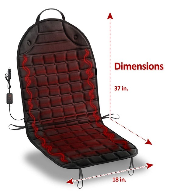 Zone Tech 12V 2x Heated Car Seat Chair Cushion Pad Integrated Plug Timer