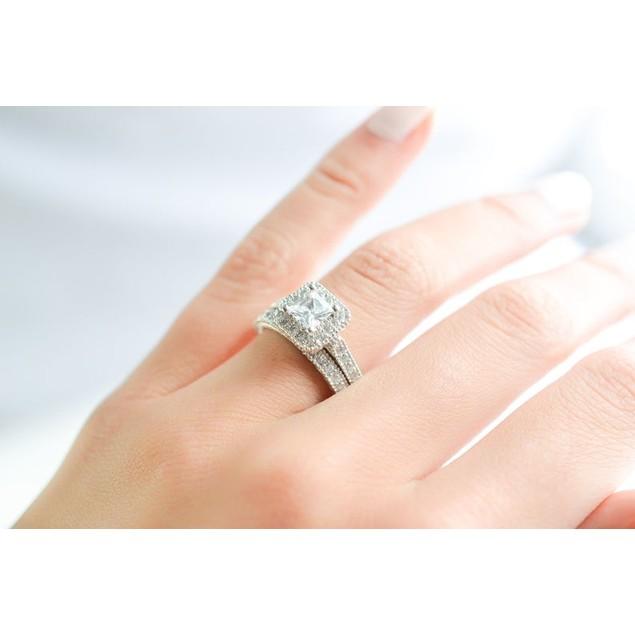 1 Carat Princess Bridal Wedding Ring Set
