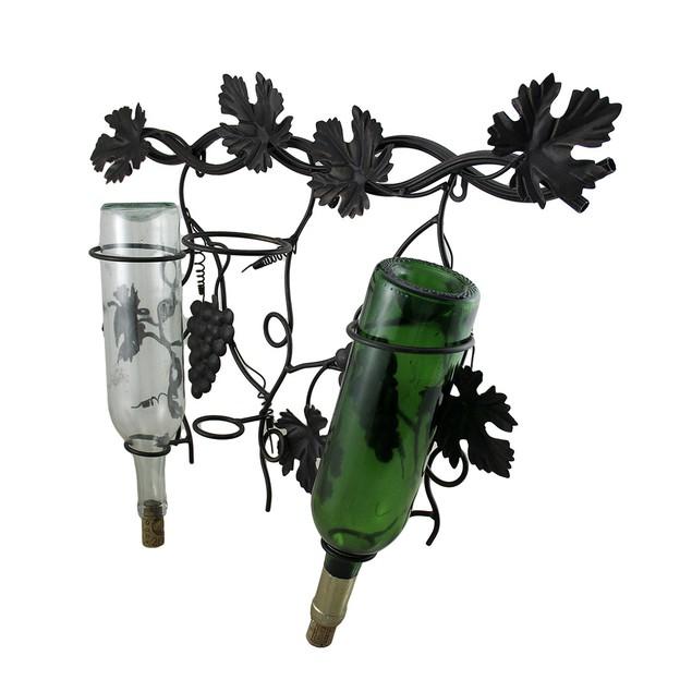 Antique Bronze Finish Metal Grapevine 3 Bottle Wall Mounted Wine Racks