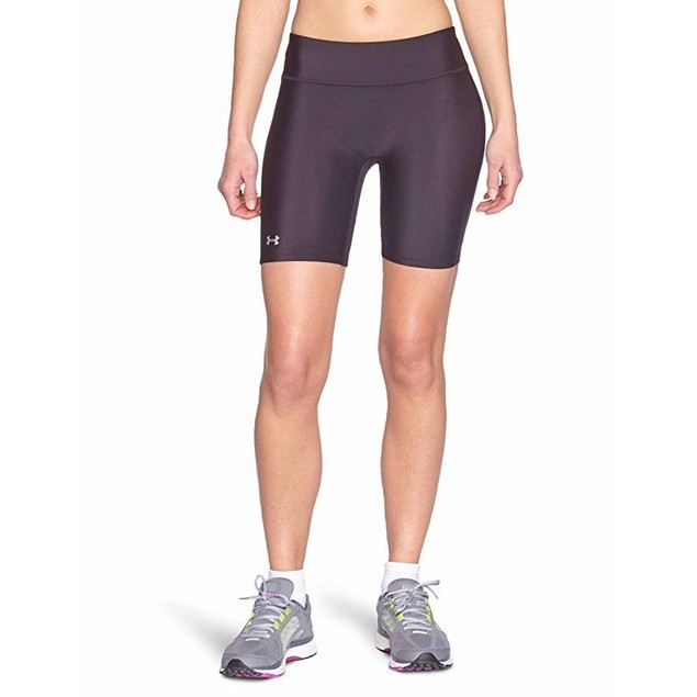 Under Armour Women's HeatGear Authentic Long Shorts, Black SZ: XS