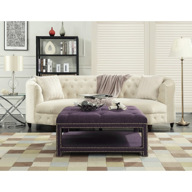 Chic Home Dara Coffee Table Ottoman 2-Layer Linen Bench