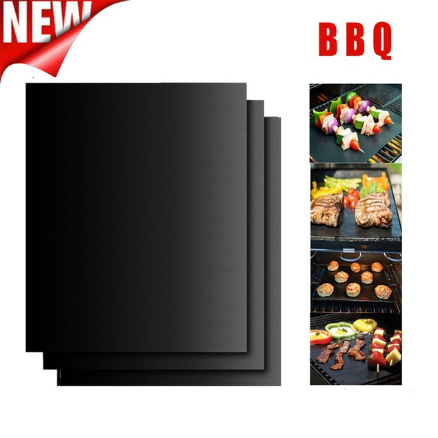3PC Non-Stick BBQ Magic Grill Mat Perfect for Baking on Gas Heat Resistant